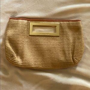 Michael Kors Straw Clutch Handbag Orange Trim